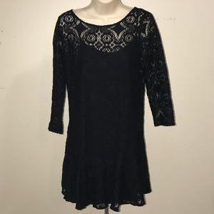 Free People Scoop Neck Black Lace Midi Dress 4